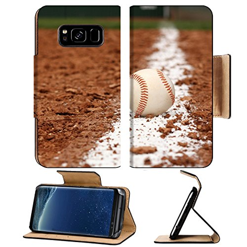 MSD Premium Samsung Galaxy S8 Flip Pu Leather Wallet Case Baseball on the Infield Chalk Line IMAGE 23747671