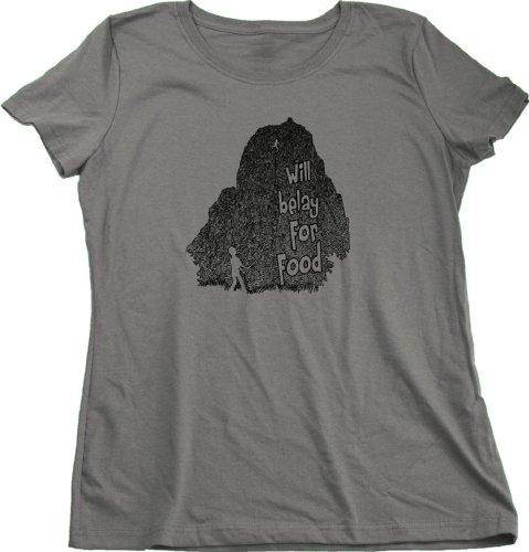 Will Belay For Food | Rock Climbing Humor Ladies Cut T-shirt Funny Rock Climbing Shirt