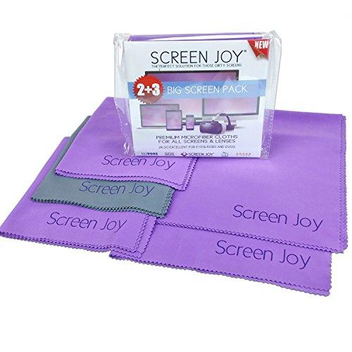 Screen Joy Screen Cleaning Cloths - Big Screen 5 Pack - 3 Large Microfiber Cloths (12x12 inch) - 2 Xlarge (16x16 inch)
