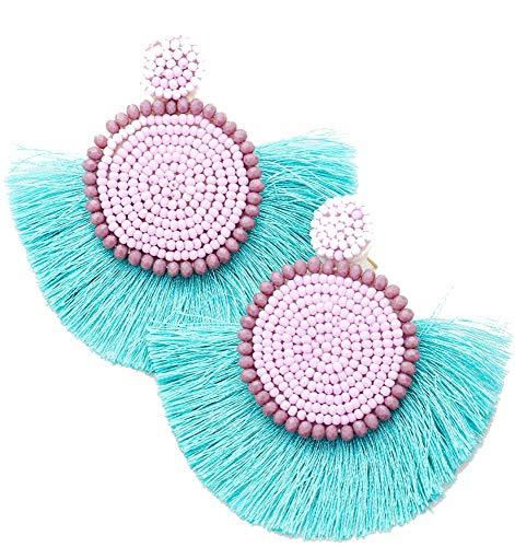 Blue and Purple Beaded Circle Fan Tassel Earrings, 3
