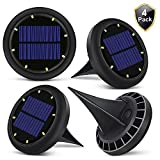 Solar Outdoor Ground Lights, 8 LED Waterproof Sensing Lawn Light Landscape Powered Light for Backyard, Garden, Pathway,4 Pack