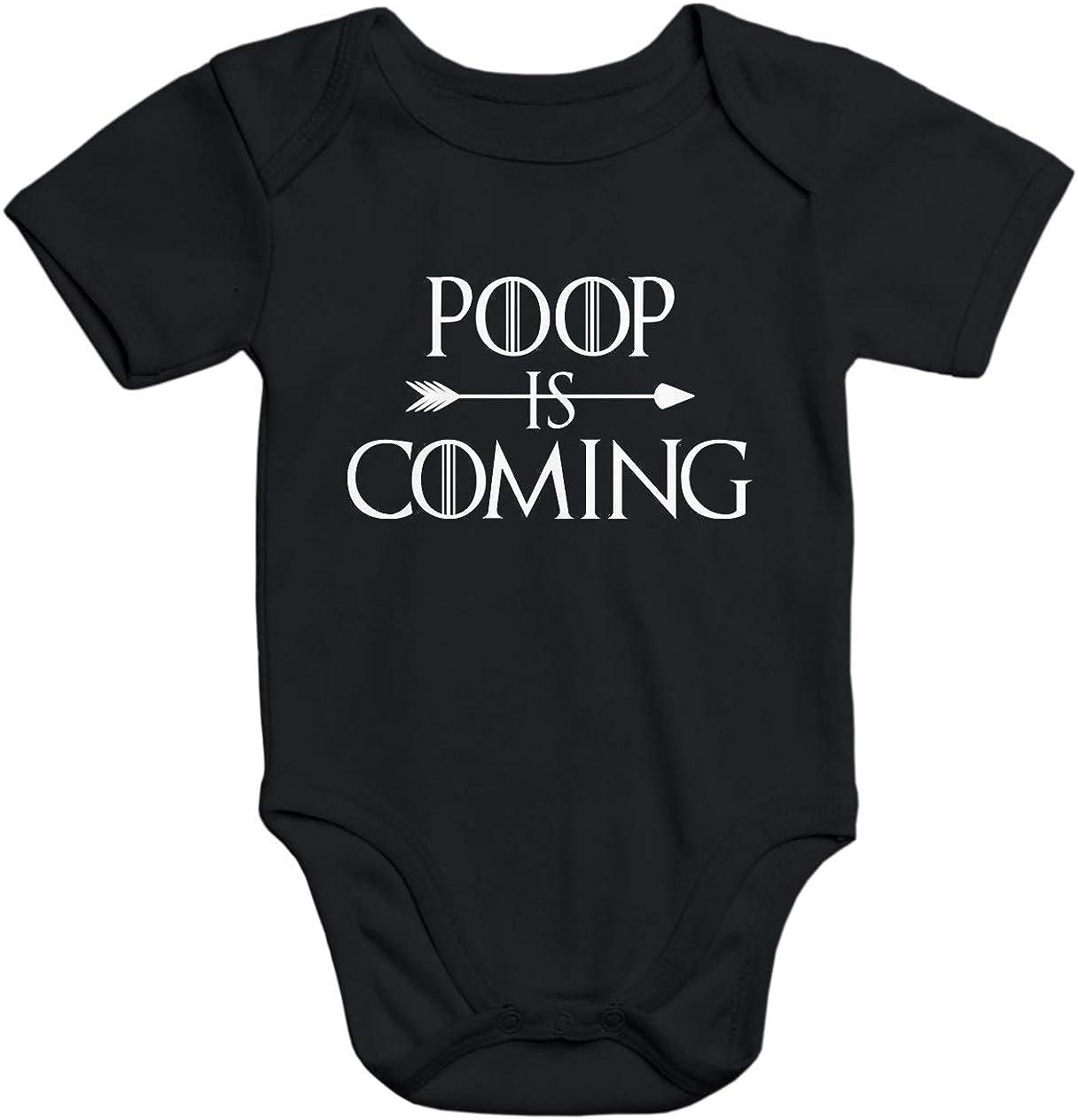 MoonWorks/® Kurzarm Baby Body Poop is Coming lustig Spruch Baby Onesie Bio-Baumwolle