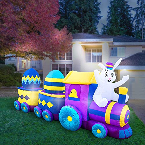 Holidayana 10 Foot Inflatable Easter Bunny Train Decoration with Engine and 2 Cars, Includes Built-in Bulbs, Tie-Down Points, and Powerful Built in Fan