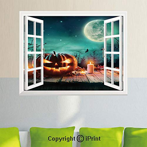 Removable Wall Sticker Creative Window View,Fantastic Magic Night Spooky Atmosphere Candles Pumpkin on Wooden Planks Print,35.4X 23.6inch,for Livingroom BedroomMulticolor