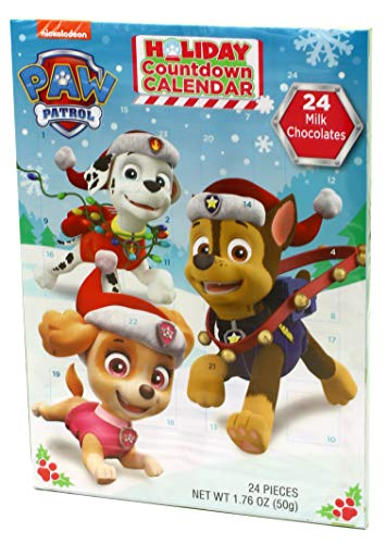 Paw Patrol 2018 Christmas Advent Countdown Calendar with 24 Milk Chocolate Pieces, 1.76 oz