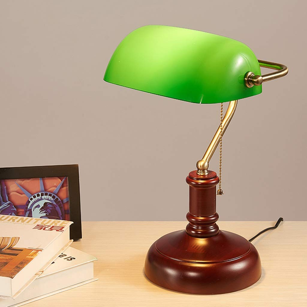 RXY-LAMP European Retro Nostalgic Solid Wood Study Room Shanghai Bank of China Eye Protection Luxury Office Table Lamp