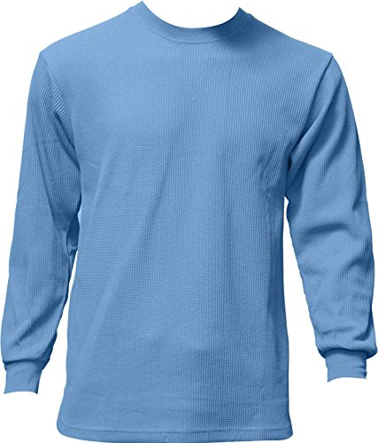 Men's Heavyweight Waffle Thermal Long Sleeve Crew Neck Top (Sky Blue) - XXX-Large