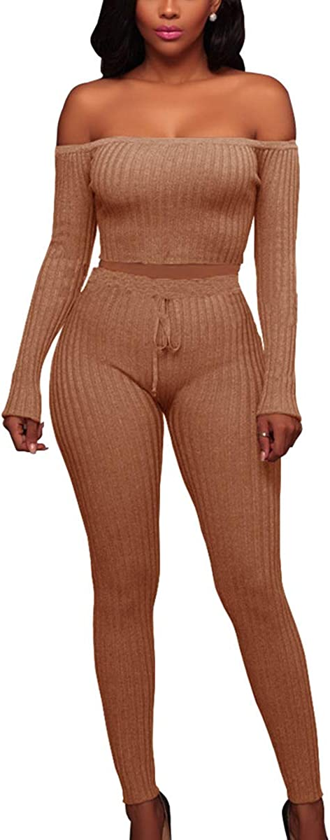 MISFONDLE Women's Sexy 2 Piece Ribbed Club Outfits
