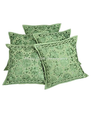 DK Homewares Boho Floral Throw Pillow Cover Green Mirrored Work Embroidered Cotton Square Cushion Covers Set of 5 40 x 40 cm (16x16 Inch)