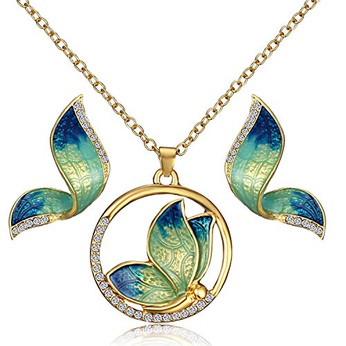 AILUOR Elegant Enamel Butterfly Jewelry Set, Fashion Charm Gold Plated Crystal Rhinestone Imitation Pearl Water Drop Butterfly Pendant Necklace Stud Earrings for Women Girl ()