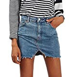Spbamboo Women's High Waist Casual A-Line Denim Distressed Bodycon Jean Skirt