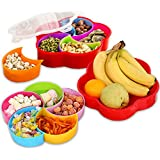 Appetizer Plates Snack Bowls Party Tableware Decorative Trays Food Container Candy Nuts Trays with Lid Plastic Fruit Party Plates with 5 Compartments for Christmas, Party and Kitchen