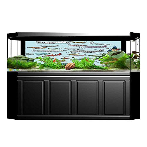 (Jiahong Pan Decorative Aquarium Planes Fying in Air Aviation Airport Helicopters and Jets Aquarium Sticker Wallpaper Decoration L29.5 x H21.6)