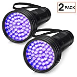 2-Pack UV Flashlight Black Light, FOLKSMATE 51 LED 395 nm Ultraviolet Blacklight Urine Detector for Dogs, Pet Stains, Bed Bugs, Scorpions, 2 Pack