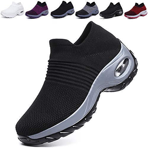 K&T Womens Cushion Walking Shoes Sock Sneakers Tennis Shoes Mesh Slip On Loafers Lightweight Fashion Nursing Girls Wedge Platform Dance Shoes Black