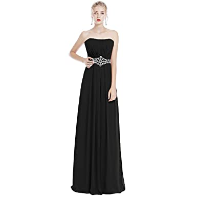 97f9ba7a50f6 OBEEII Women Bridesmaid Maxi Dress Solid Color Sleeveless Strapless Chiffon  Ball Gowns for Wedding Cocktail Evening Party Prom Pageant UK Size 8-28: ...