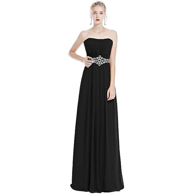 724431bb71b2 IWEMEK Women Strapless Ruched Long Bridesmaid Evening Maxi Dress Sweetheart  Chiffon Formal Wedding Party Prom Gown