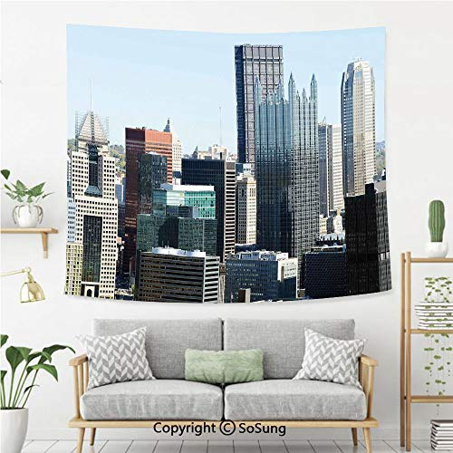 USA Wall Tapestry,American Architecture Pittsburgh PA Skyline Pennsylvania Modern Cityscape,Bedroom Living Room Dorm Wall Hanging,92X70 Inches,Grey Silver Light Blue]()