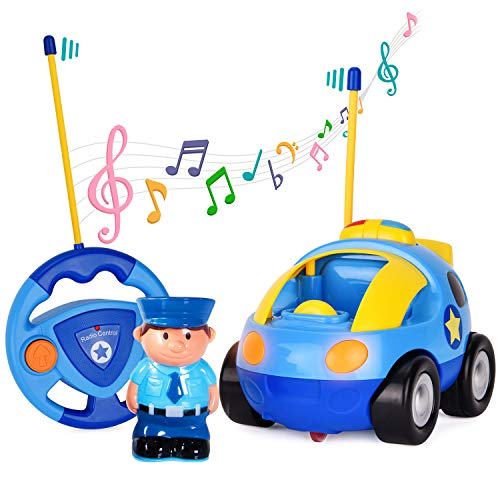 Flyglobal Cartoon Remote Control Car RC Race Car with Lights and Music Radio Control Cartoon Police Car for Baby Toddlers Kids and Children, Perfect for Holiday Birthday Christmas New Year Gifts
