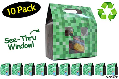Pixel Party Favor Bags Boxes Made From Recycled Paper for Mining Craft Party Theme // 10 Pack