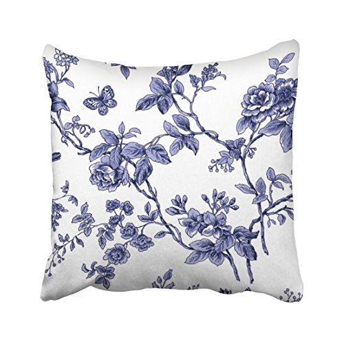 Capsceoll Blue Floral Toile Decorative Throw Pillow Case 16X16Inch,Home Decoration Pillowcase Zippered Pillow Covers Cushion Cover with Words for Book Lover Worm Sofa Couch