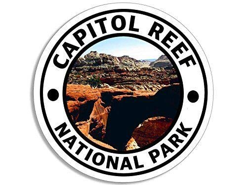 MAGNET 4x4 inch Round Capitol Reef National Park Sticker (Hike Travel rv us love) Magnetic vinyl bumper sticker sticks to any metal fridge, car, signs