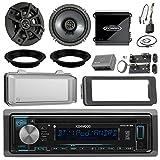 Kenwood KDCBT22 CD Receiver Bundle / 2 Kicker 6.5'' Speaker + Motorcycle Speaker Adapters + Amplifier + Dash Kit W/ Radio Cover + Handle Bar Conrol for 98-2013 Harley Davidson + Enrock Antenna