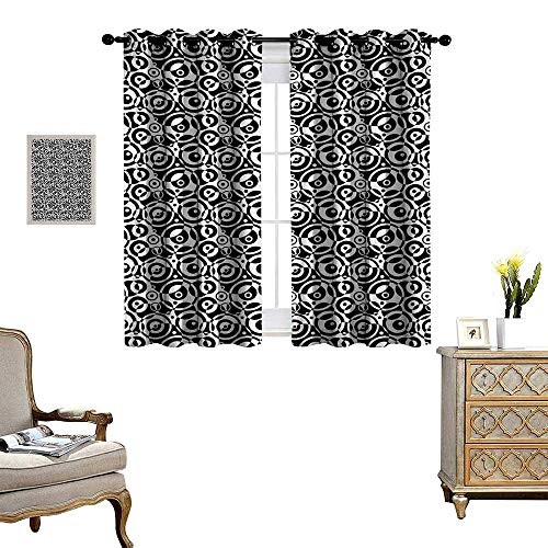 Black and White Window Curtain Fabric Circular Pattern Monochrome Dots with Bullseye Design Abstract Modern Art Drapes for Living Room W55 x L45 Black White (Plum Light Bullseye)
