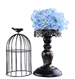 Berry President(TM Handmade Metal Candleholder Vintage Home Decorative Table Floor Tall Birdcage Candle Holder Centerpiece for Wedding (Black 16Inch)
