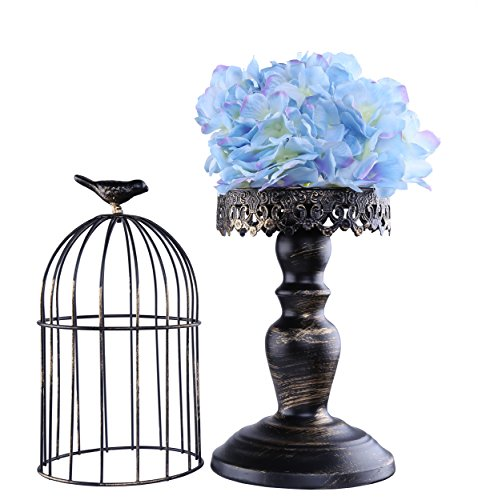 Berry President(TM Handmade Metal Candleholder Vintage Home Decorative Table Floor Tall Birdcage Candle Holder Centerpiece for Wedding (Black 16Inch) by Berry President