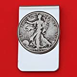 US 1945 Walking Liberty Half Dollar 90% Silver Coin Stainless Steel Money Clip NEW - Silver Plated Coin Bezel