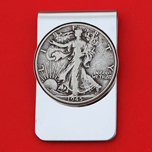 US 1945 Walking Liberty Half Dollar 90% Silver Coin Stainless Steel Money Clip NEW - Silver Plated Coin Bezel by jt6740