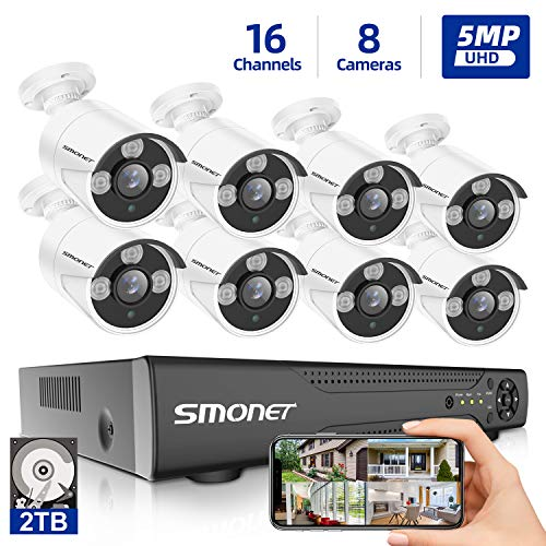 【5MP 16 Channel】16 Channel Security Camera System,SMONET 5-in-1 5MP DVR Video Surveillance System Support PoE IP Cameras,8pcs Wired Outdoor Waterproof Surveillance Camera (2TB HDD), Super Night Vision