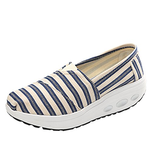 LINNUO Women Platform Sneakers Striped Canvas Wedge Heel Shoes Slip On Driving Loafers Walking Running Thick Bottom Shoes #1stripe
