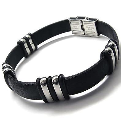 Amazon Com Konov Stainless Steel Rubber Bracelet For Unisex Mens