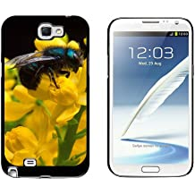 Graphics and More Blue Bee on Flowers - Snap On Hard Protective Case for Samsung Galaxy Note II 2 - Black