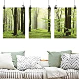 Agoza Custom Oil Painting Landscape Beech Forest Morning Haze in The Mountains of The Southern Polish Image Easy Care Oil Painting 3 Panels 16x24inchx3pcs White Green Brown
