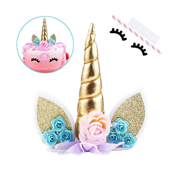 Unicorn Cake Topper,COONOE Handmade Party Cake Decoration Supplies with Eyelashes,Reuasble Gold Horn for Birthday Party,Baby Shower&Wedding 3