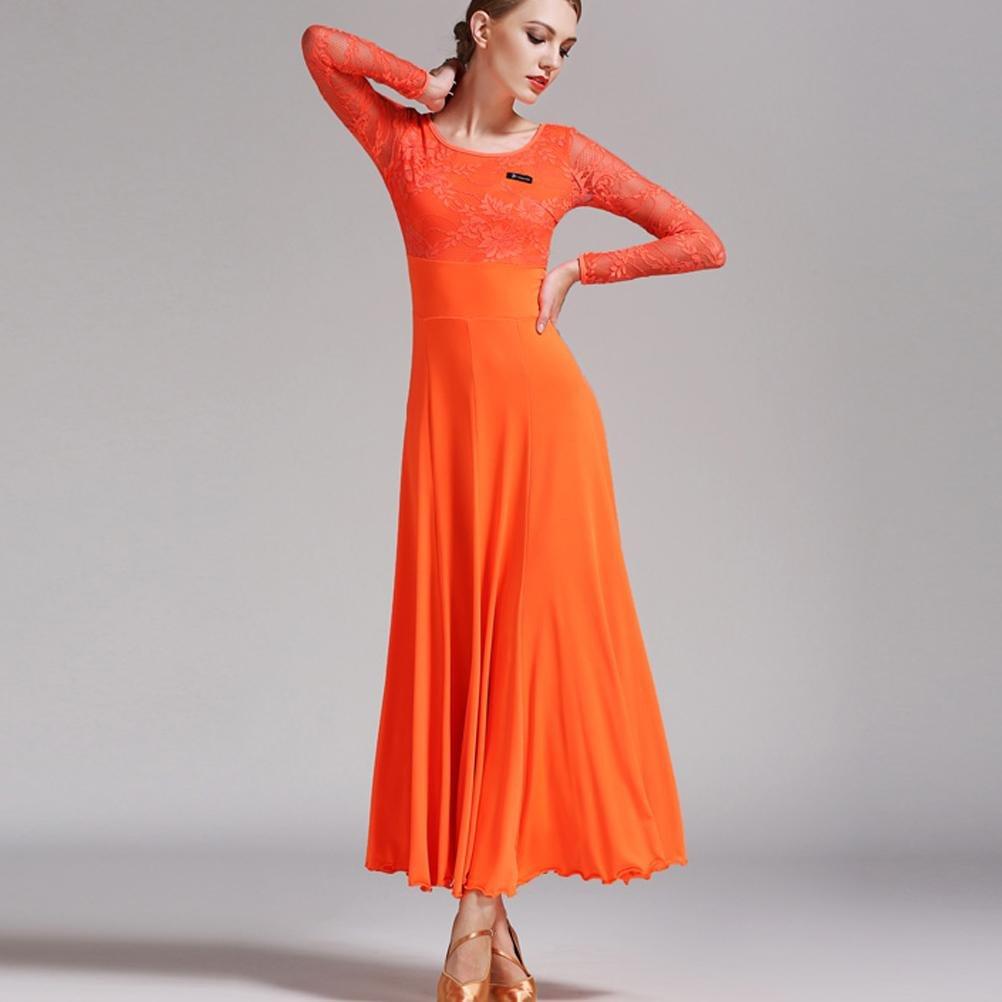 Blanc Wanson Femmes Valse Danse Costume élégant Splice de Dentelle Confortable et Doux Exécution Robe de Danse Moderne M