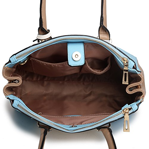Due 1643 Interne Una Apertura Cinghia Lulu Con V Miss Pu A Patchwork Lunga E Zip Borsa Tasche Borse Blue Tote Multicolore Stile Tracolla 6xx71TZq