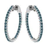 4.25 Carat Blue Diamond Hoop Huggies Eternity In And Out 14K White Gold Women Unisex Earring