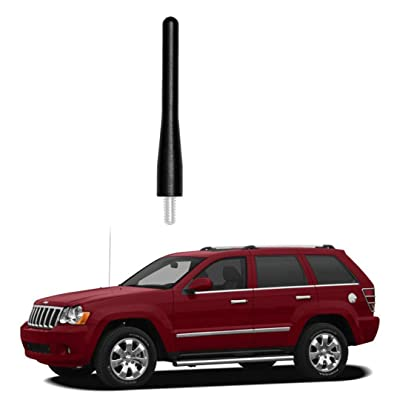 "Black 3.6"" Aluminum Short Direct Replacement Screw Thread Performance Antenna Mast Whip fits 2005-2010 Jeep Grand Cherokee, 2008-2020 Dodge Grand Caravan, 2008-2016 Chrysl- Town & Country: Car Electronics"