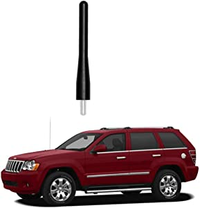 """Black 3.6"""" Aluminum Short Direct Replacement Screw Thread Performance Antenna Mast Whip fits 2005-2010 Jeep Grand Cherokee, 2008-2018 Dodge Grand Caravan, 2008-2016 Chrysl- Town & Country"""