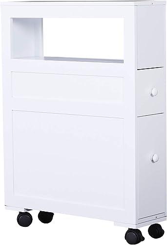 HOMCOM 6 x 20.5 x 26 Wood Rolling Narrow Bathroom Side Storage Cabinet – White
