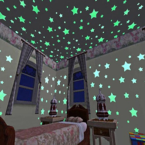 100PCS Glow in the Dark Luminous Stars Wall Stickers, Adhesive Glowing Wall Decals for Kids Rooms Home Decor Living Room Pub Ceiling