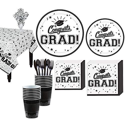 (Party City Congrats Grad White 2019 Graduation Decorations and Supplies for 18 Guests with Plates, Napkins and More)