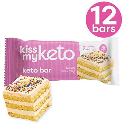 Kiss My Keto Bars Low Carb Bars (3g Net) – White Chocolate Birthday Cake, 12 Pack – Keto Protein Bars Low Carb Low Sugar | Keto Snack Bars with MCT Oils, Fibre, No Added Sugar