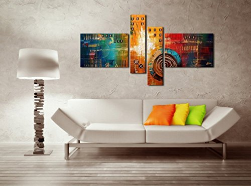 FLY SPRAY 4 Panels Framed Canvas Stretched Ready Hang 100% Hand Painted Oil Paintings Abstract Shapes Wall Art Decor Of Home Decoration Huge Size