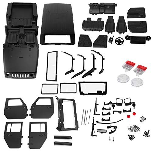 Thobu 313mm Wheelbase RC Car Body Shell Plastic for 1/10 RC Car Jeep Wrangler Axial SCX10-II 90046/90047 TRX4 Kit Black