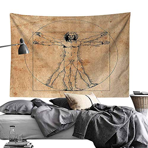 Homrkey Commemorative Tapestry Human Anatomy Medieval Vitruvian Man Crosshatching Famous Italian Painting Renaissance Body Art Tapestry for Room W70 x L59 Sepia